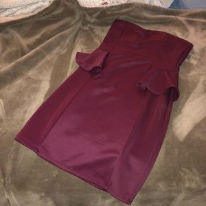 burgundy tight fitted dress
